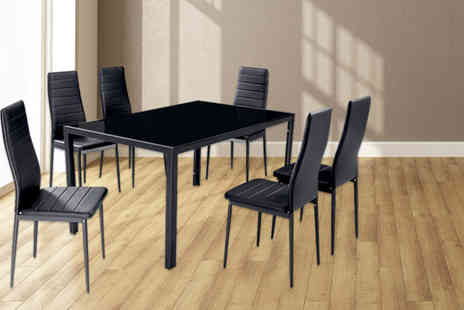 Panoply Furnishings - Berlin black glass top dining table with 6 faux leather chairs - Save 61%