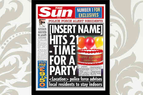 In the Paper - Voucher for a Personalised and Framed Birthday Front Page of The Sun - Save 47%