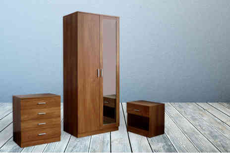 Einfeld - Three piece bedroom furniture set including mirrored wardrobe, drawers and bedside cabinet - Save 72%