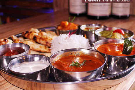 Yukti - Indian Tasting Banquet Including Six Dish Thali Meal, Indian Street Snacks, and a Pan Fried Starter with Rice and Naan Each for Two - Save 35%