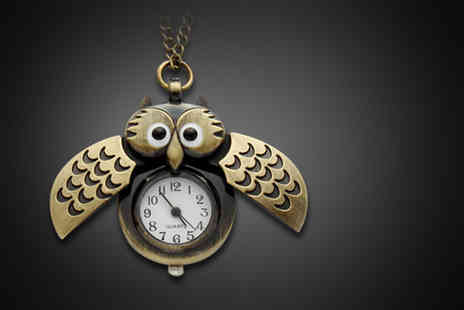 Macallen Jersey - Steampunk owl clock necklace - Save 72%