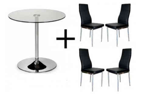 Furniture Deals - Lucia Glass Dining Table plus 4 Faux Leather Chairs - Save 56%