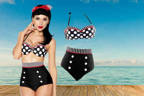 Xyte - Vintage pin up style high waisted bikini in a choice of patterns & colours - Save 70%