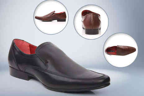 Unze London - Black or Brown Slip On Red Tape Leather Shoes for Men - Save 51%