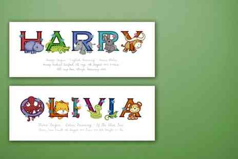 Frame My Name - Childrens personalised animal name print - Save 72%
