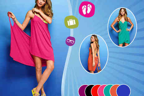 Colourful Beachwear - Strappy Crossover Beach Dress - Save 60%