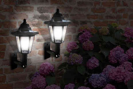Babz Media - Two LED solar power wall lamps - Save 75%