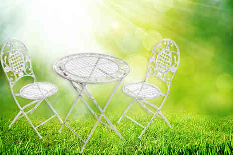 Capital Stores  - Three piece white French vintage style garden table and chair set - Save 31%