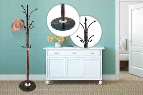 Kings Bathroom - 12 peg hat and coat stand with a marble base - Save 59%
