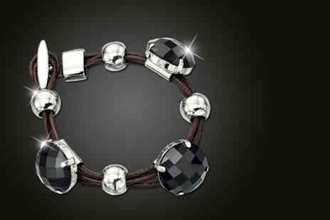 Gecko Trading  - Silver and black Fiorelli multi strand leather bracelet - Save 50%