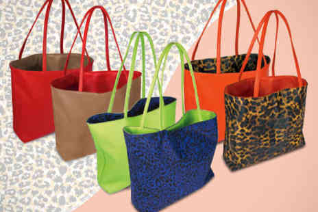 Totally Reversible Tote Bag - Choice of Three Styles With Blue and Green, Orange and Cheetah or Red and Brown - Save 52%
