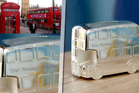 The Early Years Boutique - Personalised Double Decker Bus Money Box - Save 33%