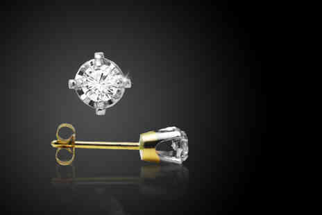 Beautiful Jewellery Company - Pair of 0.05ct diamond earrings mounted on 9ct gold - Save 58%