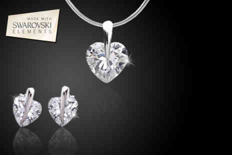 Zoo Jewellery -  Swarovski Elements solitaire heart pendant and earrings set  - Save 93%