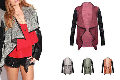 Myo Fashion - Silvia Waterfall Cardigan With a choice of 5 colours and bang on trend leather look sleeves - Save 74%