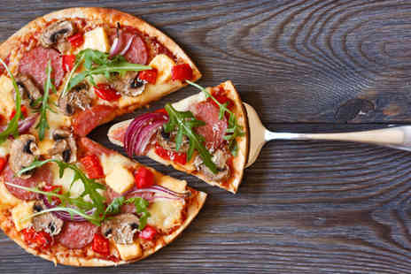 Suede Bar - Pizza meal for 2 including a 12 inch stonebaked pizza and a pint of lager or glass of wine each - Save 46%