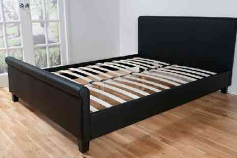Giinii - Cannes Scroll Black Faux Leather Bed P&P Included - Save 59%