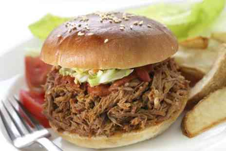Kafe Neon - Pulled Pork Burger Meal For One - Save 49%