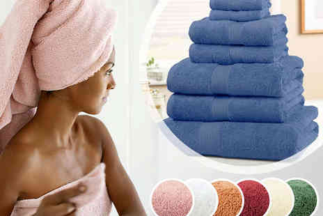 Chums - Seven Piece Towel Set by Christy in Berry, Blue, Cinnamon, Green, Parchment, Rose or White - Save 66%