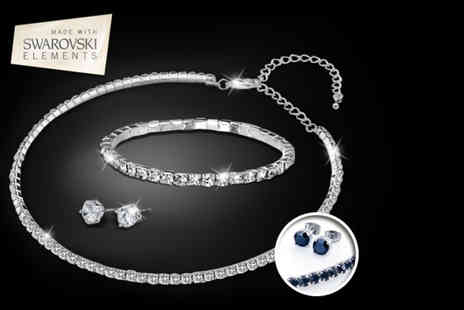 Zoo Jewellery -  Swarovski Elements tri set in black or clear - Save 85%