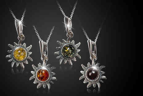 Henryka - Amber and 925 sterling silver sunflower pendant and chain - Save 52%