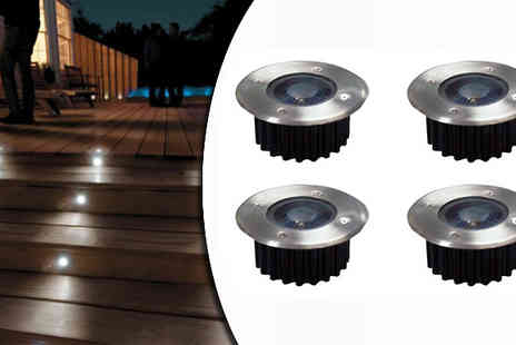 Tooltime -  4 Wireless Solar Blue LED Garden Lights  - Save 50%