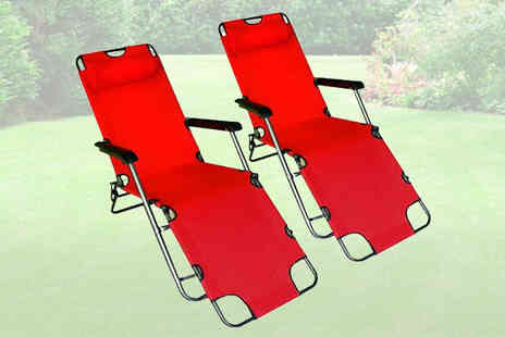 Tooltime - Two Reclining and Folding Garden Sun Lounger Chairs - Save 74%