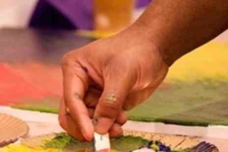 Paint Jam - Social Art Studio Workshop With Glass Of Wine and Canvas For Two - Save 62%