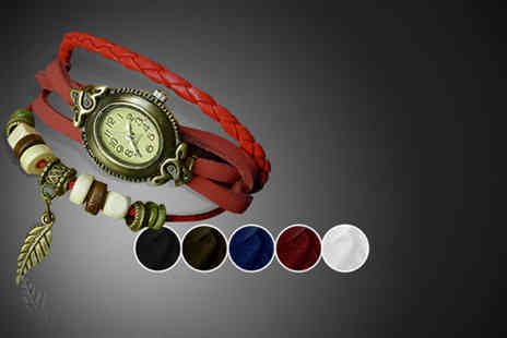 Cerichic - Vintage leather wraparound bracelet watch in a choice of 2 designs - Save 82%