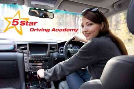 5 Star Driving Academy - Four 60 Minute Driving Lessons for £30 - Save 67%