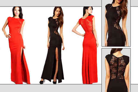 Little Secret Boutique - Maxi Dress with Lace Detailing in Red or Black - Save 70%