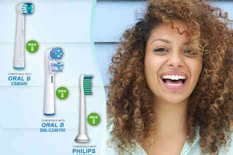 Ministry of Deals - Eight Oral-B, Oral B Dual Clean, or Phillips Sonicare Compatible Toothbrush Heads - Save 75%