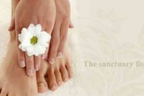The Sanctuary - Shellac Manicure or Pedicure Both - Save 66%