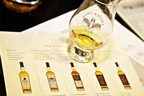 Soho Whisky Club - Whisky Tasting With Five Drams and Taste Pairings  - Save 50%