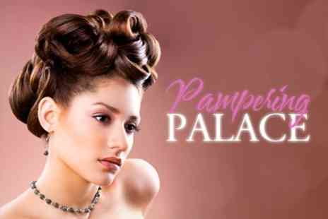 Pampering Palace - Block Colour or Half Head of Highlights With Wash, Cut, HydratingTreatment and Finish for £43 - Save 69%