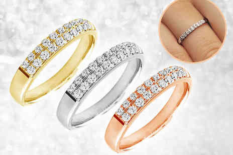 Mazal Diamond - 10kt White, Yellow, or Pink Gold Two Row Diamond Ring, Including Delivery - Save 73%