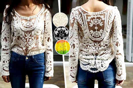 DFashion - An embroidered floral lace crochet top  - Save 68%