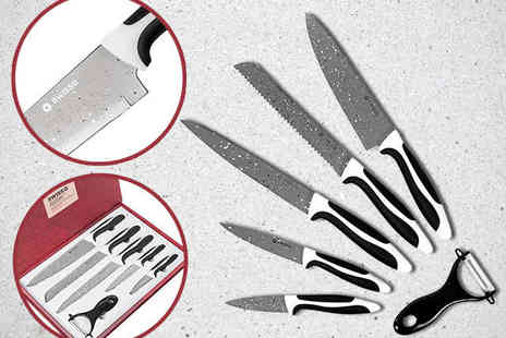 Natural View - Six Piece Swiss Q Stainless Steel and Stone Knife Set - Save 77%