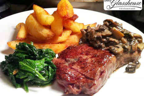 The Glasshouse Restaurant - Steak Meal with Chips for Two - Save 47%