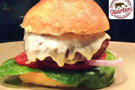 Quarters Restaurant and Bar - Handmade Quarter Back Burger with Rustic Chips and a Glass of Wine for Two  - Save 55%