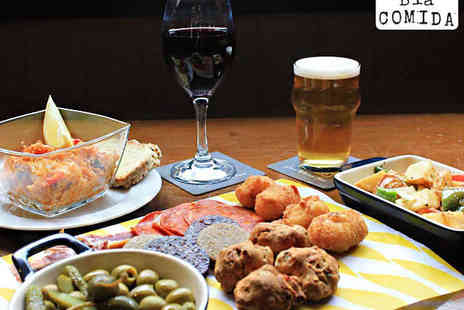 Bia Comida - Bodega Sharing Board with Glass of Wine Beer or Soft Drink Each for Two - Save 53%