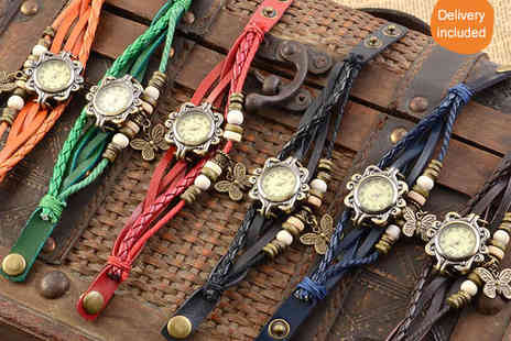 Chainz Jewellery - Ladies Leather Bohemian Watch in Red, Blue, Brown Black Green or Orange - Save 88%