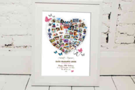 Treasure on the Wall - Personalised Family Heart, Circle or Star Collage Print with Delivery - Save 62%