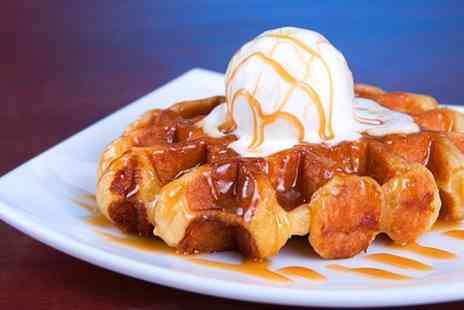 U F Coffee - Waffles With Ice Cream and Tea or Coffee For Two - Save 50%