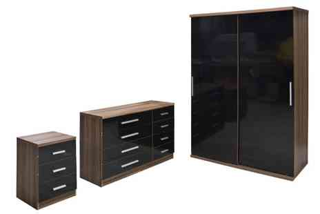 D furniture store - Black 3pc Sliding Door Wardrobe Set - Save 20%