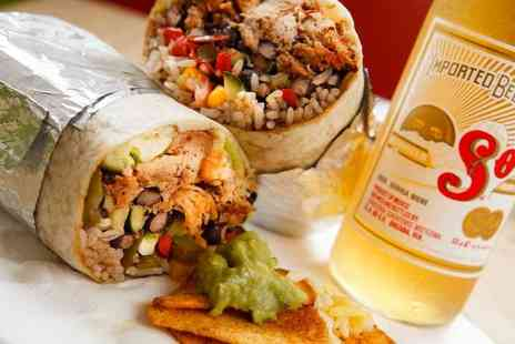 Burrito Cafe - Burrito meal including a Sol beer, churros and a hot drink for 2 - Save 52%