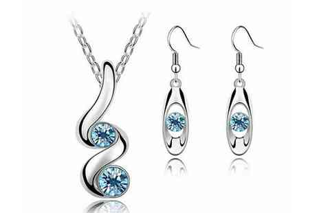 Finishin Touch - Blue Crystal Swirl Jewellery Set - Save 53%