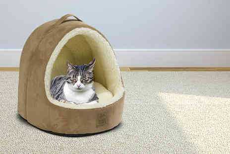 House of Paws - Luxury faux suede hooded cat bed - Save 48%