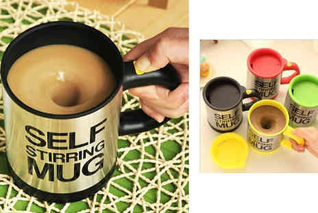 Creative Gadgets - Self Stirring Mug in a Choice of Colours - Save 67%