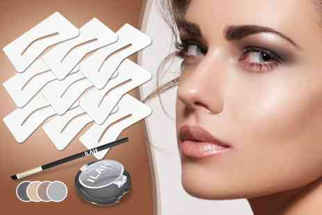 Ilah Distribution - 11 piece brow kit including 9 stencils powder and brush - Save 50%
